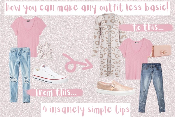 how to make your outfit less basic | 4 simple tips | sequins and satin girly and pink fashion blog