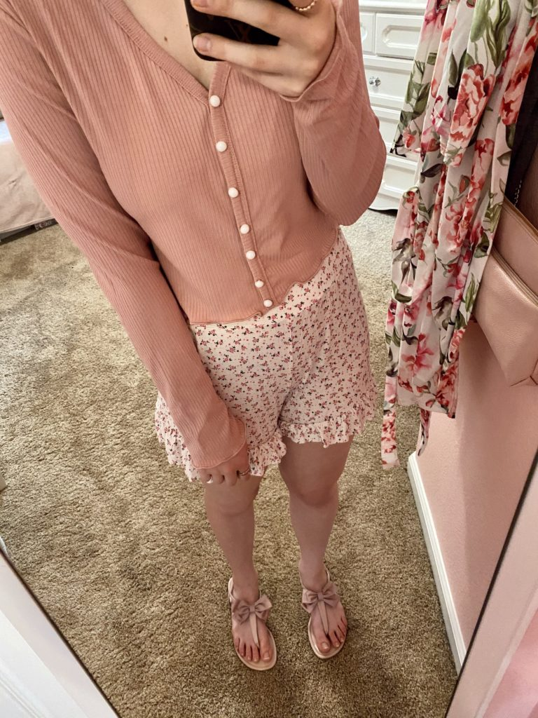 comfy essentials ~ floral shorts with pink button front top ~ trendy, girly, pink, fashion, outfit, style, blog