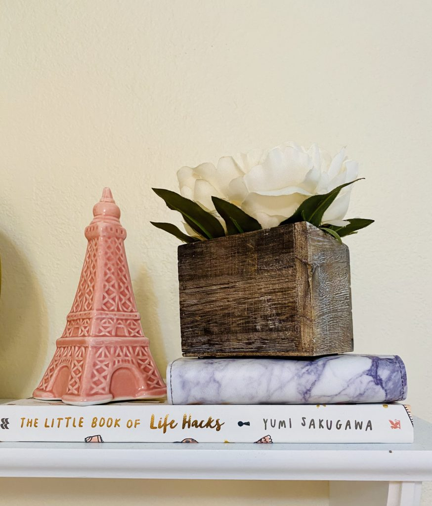 cute and practical room decor for spring 2020 ~ girly and pink fashion style blog ~ pink gold life hack book mini marble photo book with white box flower and pink eiffel tower paris france london easy affordable cheap simple decor