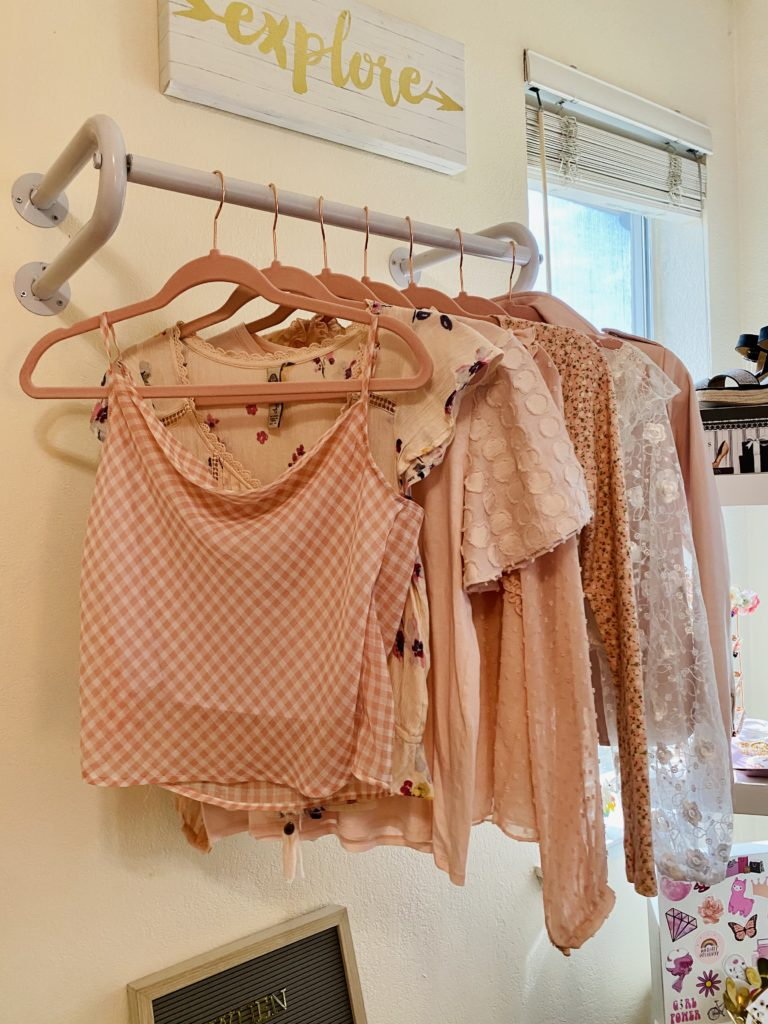cute and practical room decor for spring 2020 ~ girly and pink fashion style blog ~ wall mounted clothing rack