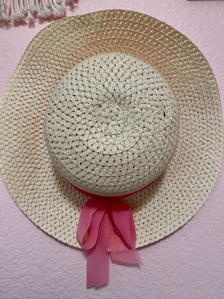 cute and practical room decor for spring 2020 ~ girly and pink fashion style blog ~ pink purse with pink mini backpack velvet and gold marble wall mounted hooks fab fit fun robe floral show me your mum pink wall affordable, pink bow woven hat, cheap, trendy, cute, pretty, feminine, beautiful