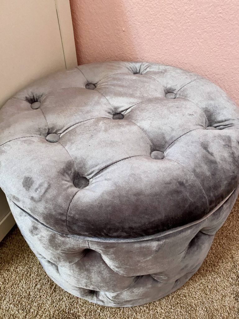 cute and practical room decor for spring 2020 ~ girly and pink fashion style blog ~ gray velvet storage ottoman stylish pink steve madden backpack