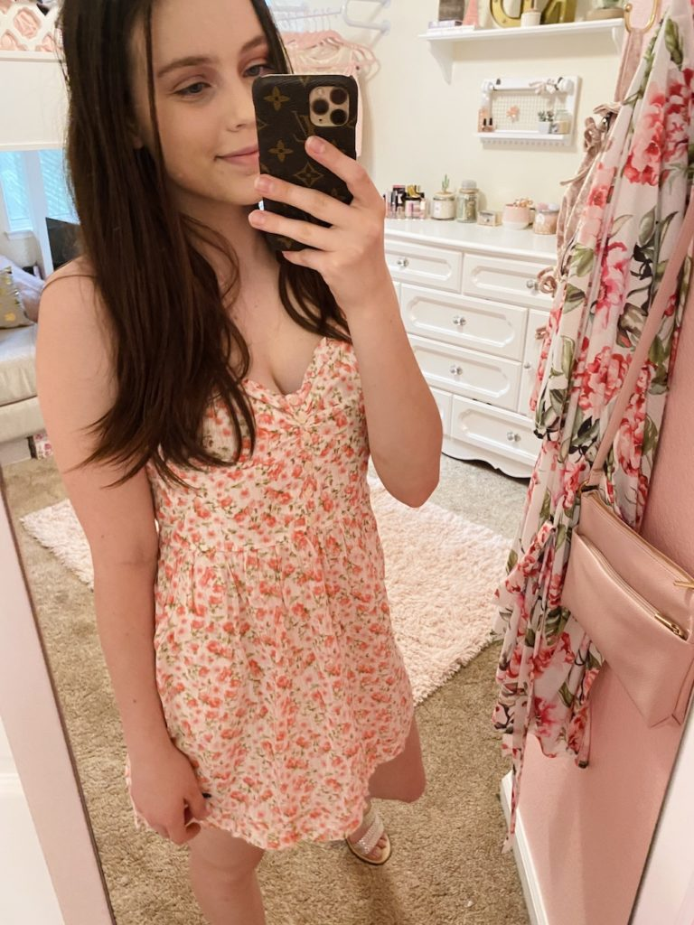 thredup review, pink, green, and white ditsy floral cami dress from abercrombie and fitch found on an online thrift store styled with the kersha taupe embellished sandals from target