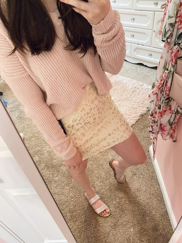 thredup review, pink v-neck ribbed sweater with gold and cream mini cheetah leopard print skirt from lulus found on the world's largest online thrift store with the kersha embellished taupe sandals from target