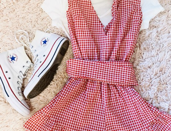 red and white gingham bow, v-neck, ruffled, romper, white ribbed lace crop top, and high top white converse