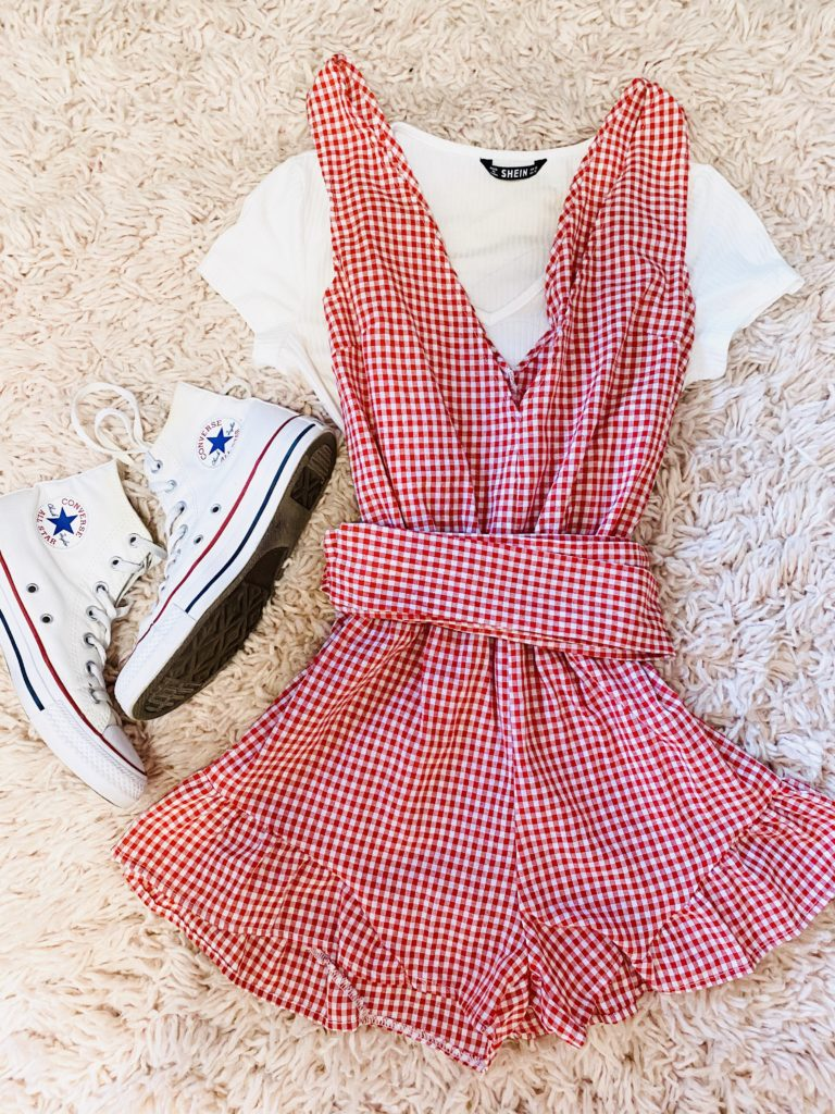 4th of july outfit ideas | red gingham romper with white cropped lace v neck tee and white high top converse sneakers