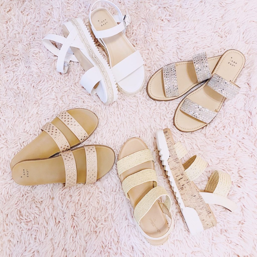 4 pairs of girly sandals from target all under $35