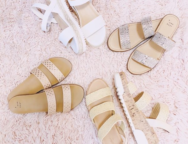 4 pairs of girly sandals from target all under $35, featuring the winnie studded sandals, kersha embellished sandals, rianne espadrille sandals, and steve madden dupes