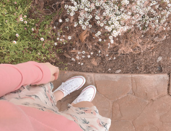 casual skirt outfits, pink sweatshirt with a floral, cream, and mint ruffled skirt, white low top converse, and rose gold rings