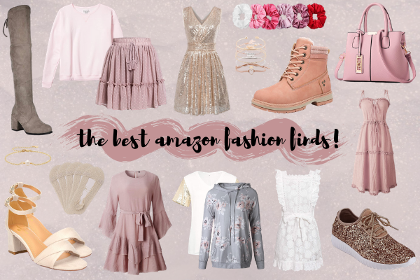 the best amazon fashion finds! this includes the best skirts, tops, dresses, shoes, heels, boots, bracelets, sweatshirts, handbags, scrunchies, socks, & more!