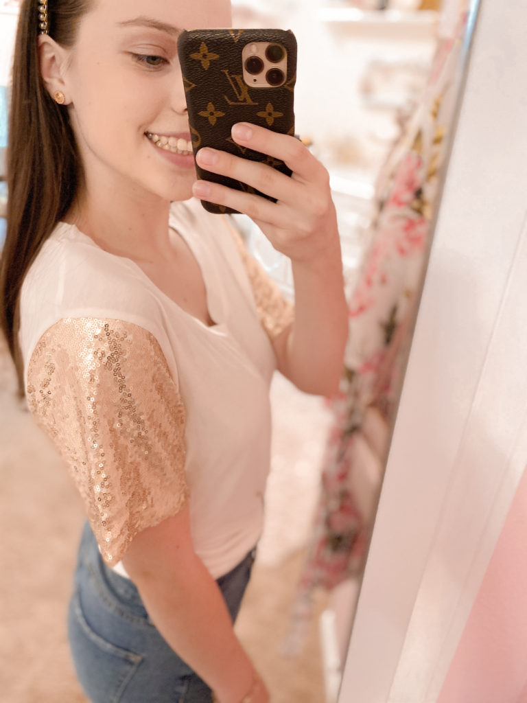 amazon fashion haul 2020 gold sequin sleeve top