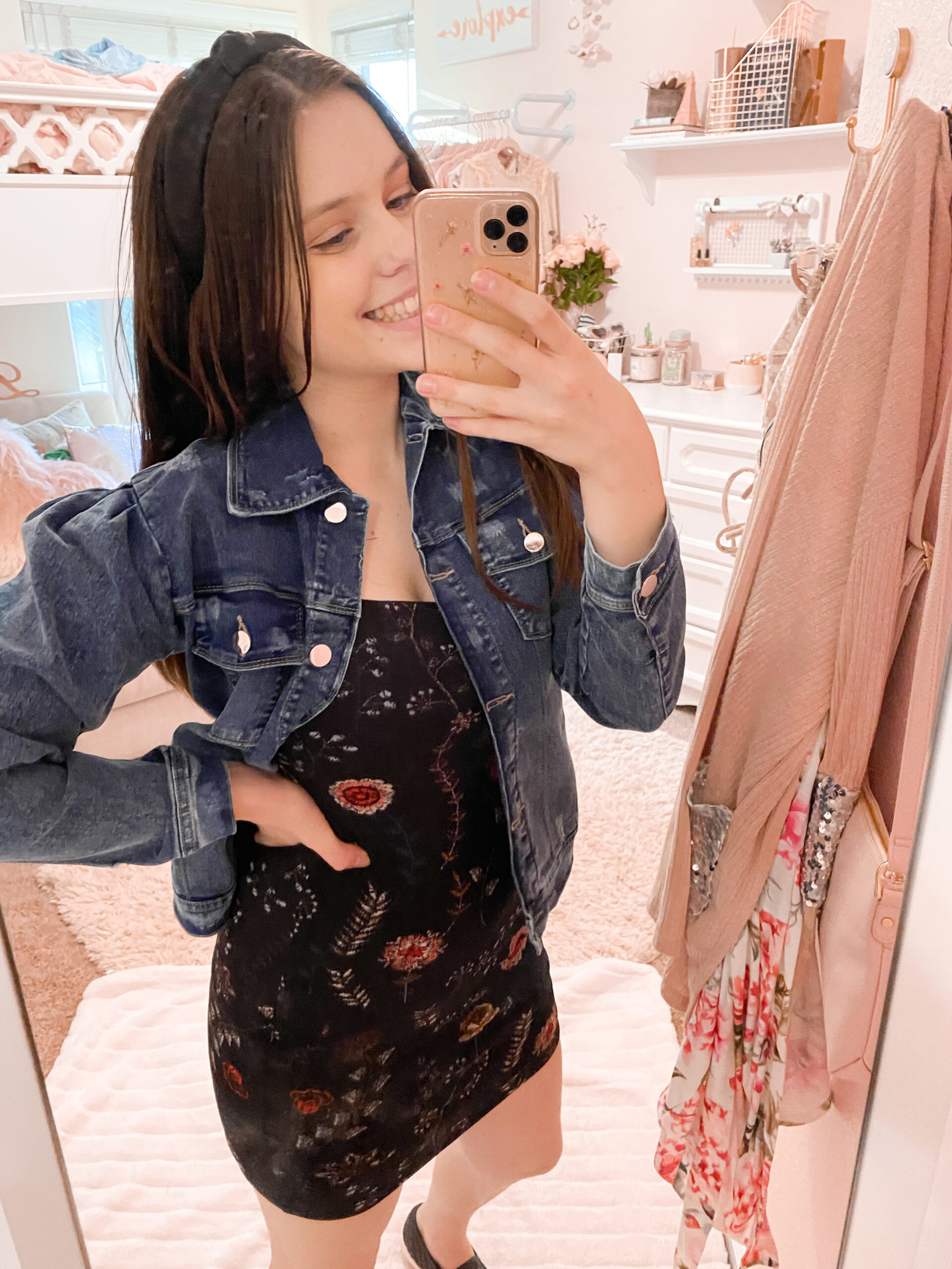 denim jacket and dress outfit , sequins and satin fashion blogger wearing puff sleeve denim jacket with floral bodycon black dress, and black slip on quilted sneakers for fall outfits inspiration