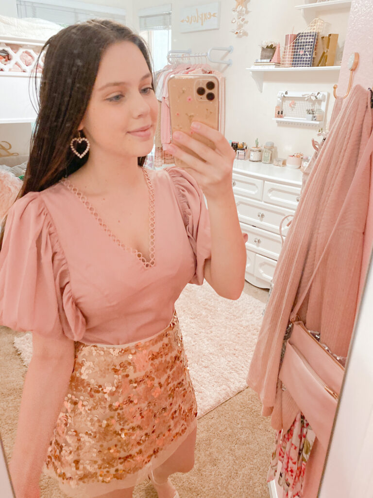 rose gold sequin skirt outfit, rose gold sequin skirt styled with pink satin puff sleeve top shown on sequins and satin fashion blogger