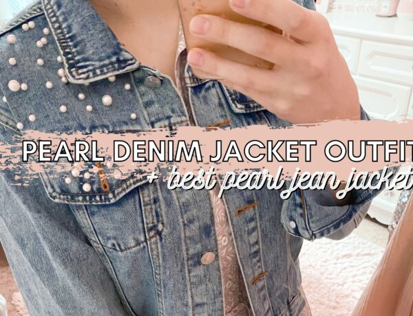 feminine fashion blogger wearing pearl denim jacket outfit with affordable pearl jean jacket and floral pink dress with booties