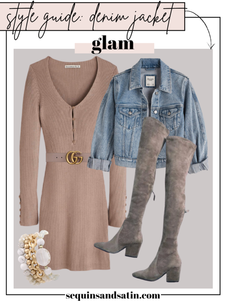 glam denim jacket outfit for women
