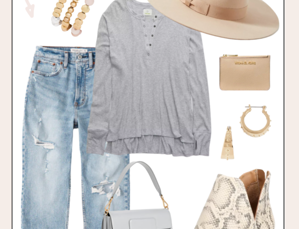 casual hat outfit with jeans, booties, a fedora, and an oversized tee