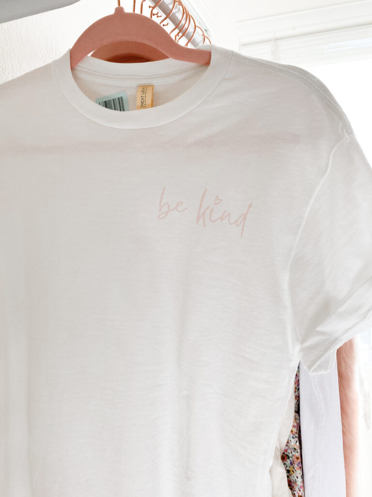 sequins and satin 1st collection launch - be kind short sleeve graphic tee
