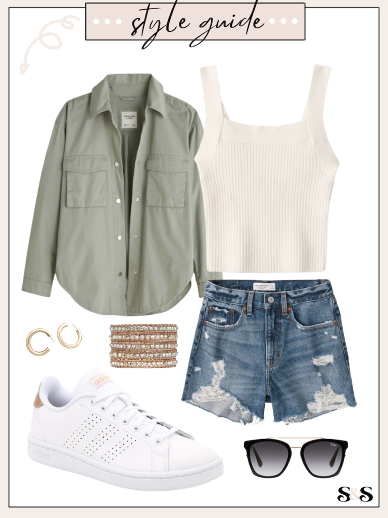 green shacket outfit