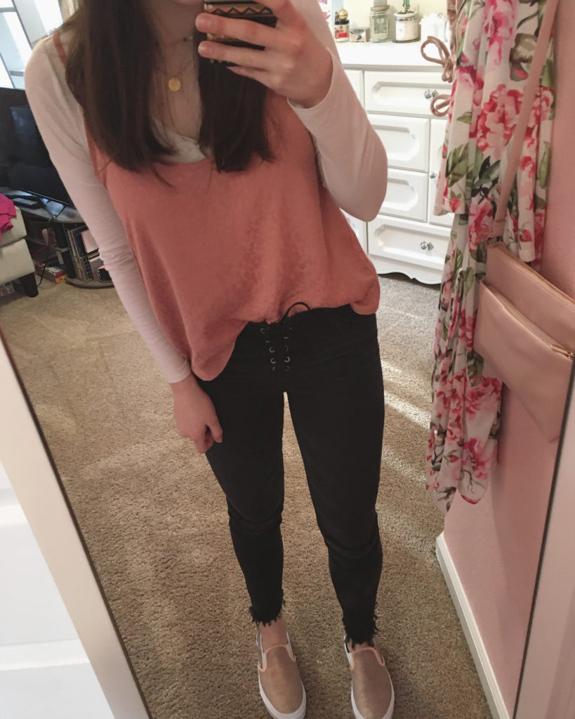 rose gold vans outfit ideas ~ slip on vans with cheetah cami and lace up black jeans