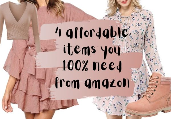 affordable amazon review of girly and pink dresses, boots, and a wrap top