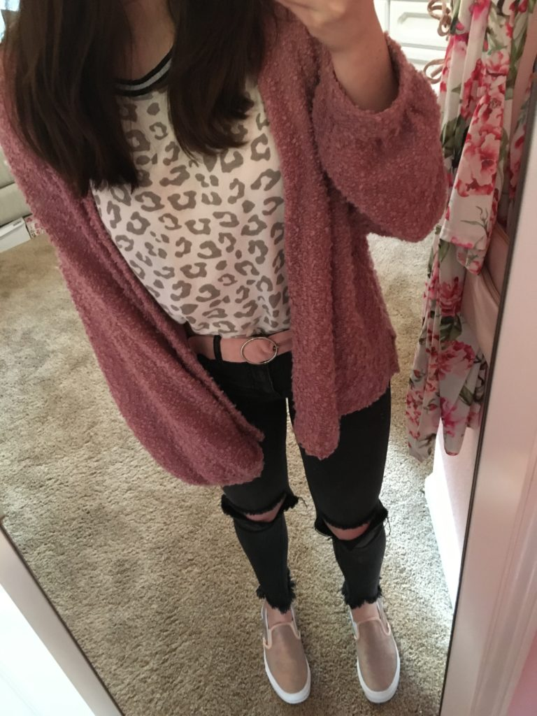 rose gold vans outfit ideas ~ slip on vans with leopard cheetah animal print short sleeve tee, popcorn pink cardigan, ripped distressed jeans, and pink circle belt