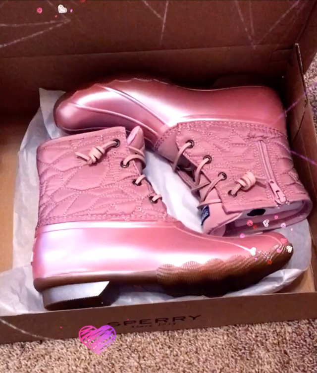 pink and girly rain boots ~ girly and pink fashion blog ~ sequins and satin ~ pink sperry duck boots ~ metallic and pretty