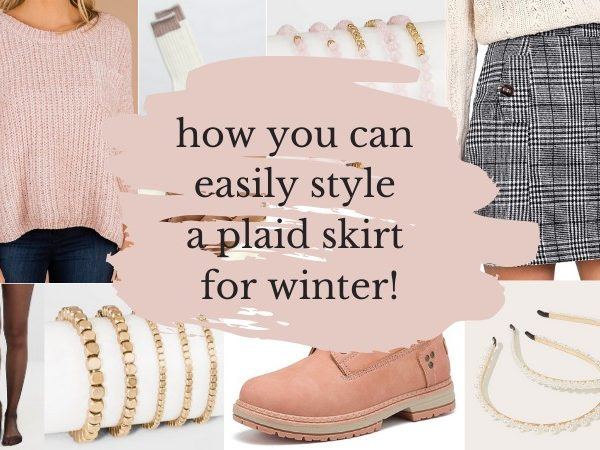 how to style a plaid skirt for winter, pink sweater with a gray plaid skirt, pink boots, and gold accessories