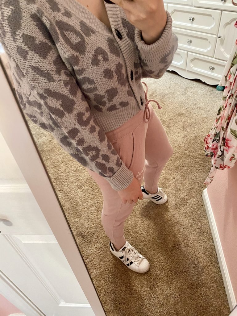 comfy essentials, gray cheetah leopard print button front cropped cardigan sweater with pink abercrombie and fitch logo sweatpant joggers, and white adidas superstar sneakers for a casual and cozy look