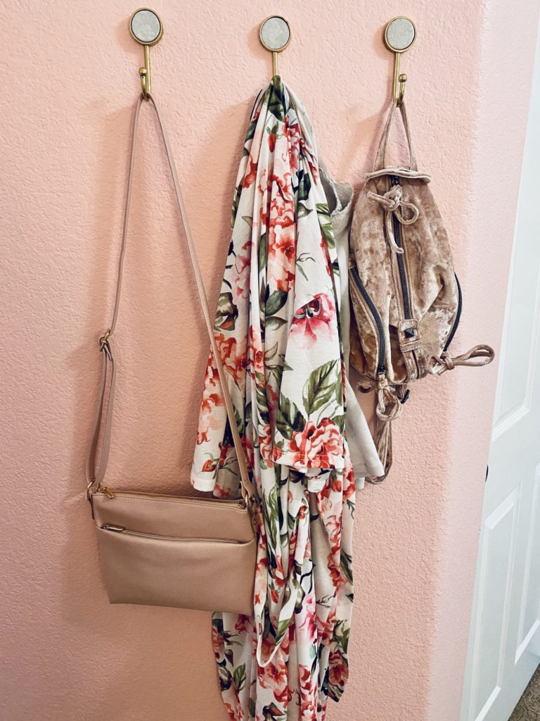 cute and practical room decor for spring 2020 ~ girly and pink fashion style blog ~ pink purse with pink mini backpack velvet and gold marble wall mounted hooks fab fit fun robe floral show me your mum pink wall affordable, cheap, trendy, cute, pretty, feminine, beautiful