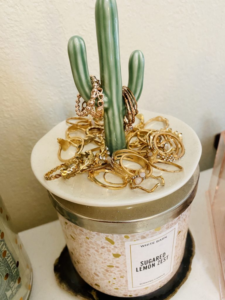 cute and practical room decor for spring 2020 ~ girly and pink fashion style blog ~ rose gold earring stand handmade bracelet dish affordable trendy cute