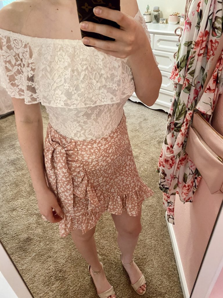 easter outfit ~ spring outfit ideas ~ pink and girly fashion blog ~ ruffles, floral, wrap dress, feminine, bling, pretty, cute