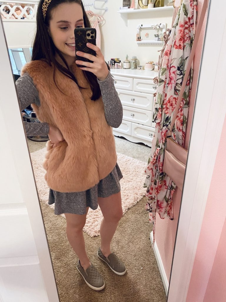 thredup review, pink faux fur vest with gray and white marled ruffle bottom peplum dress, taupe gray quilted steve madden slip on sneakers dupes and a leopard knot lele sadoughi headband dupe
