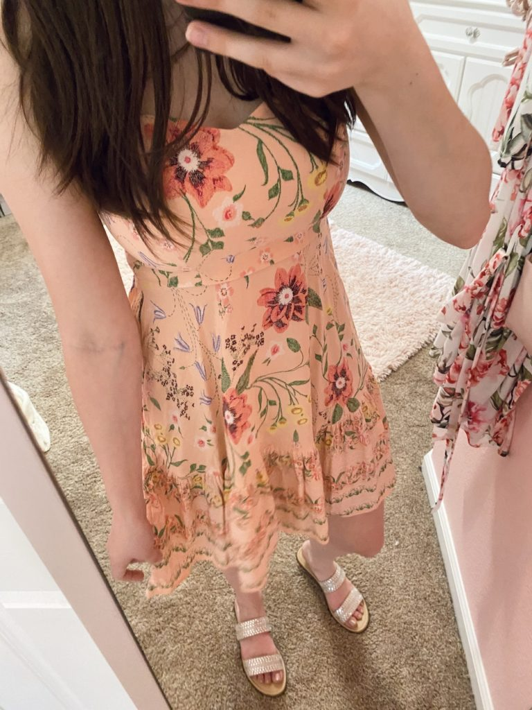 thredup review, peach pink colorful floral fit and flare cami dress from old navy but found on thredup dress for summer with the ekrsha taupe embellished sandals from target