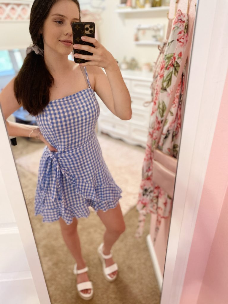 4th of july outfit ideas   blue gingham wrap side dress with thin straps and white summer espadrille sandals from target