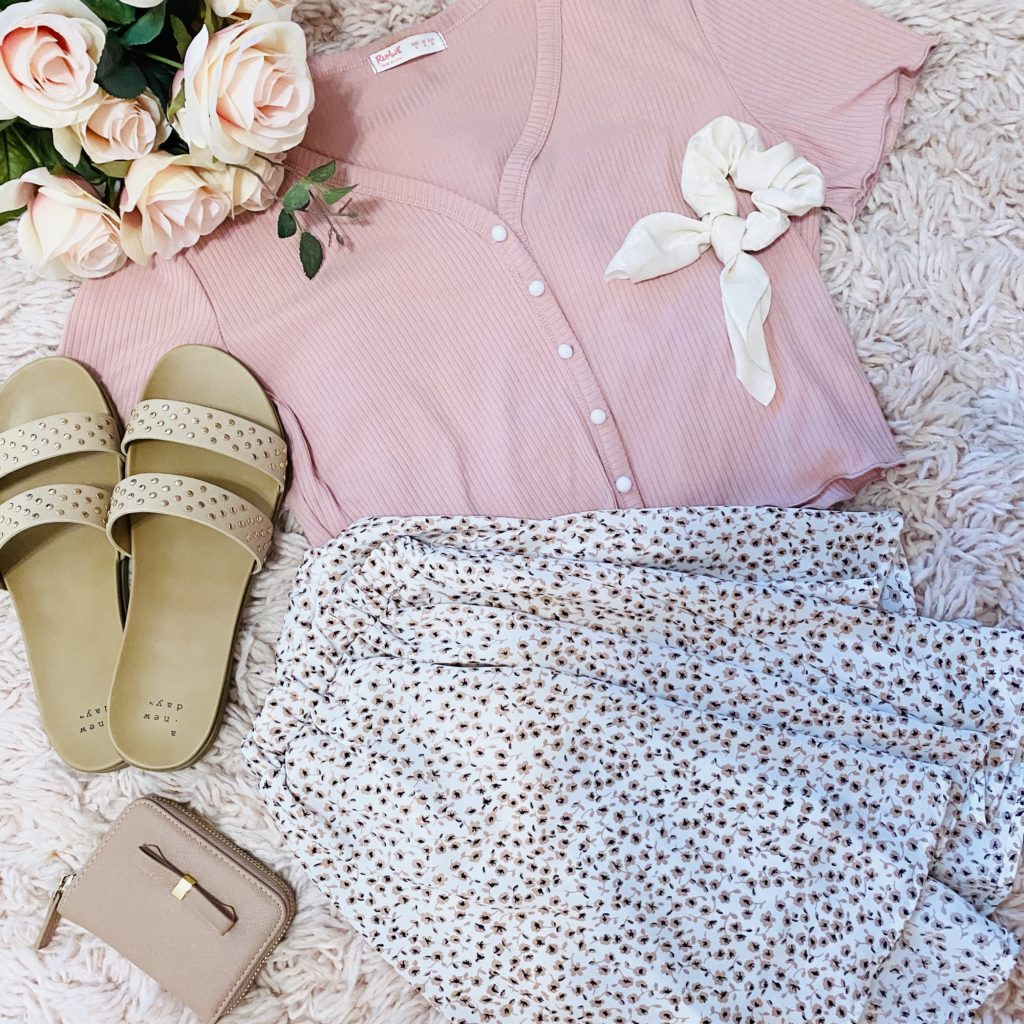 pink floral skirt outfit ideas | girly and pink fashion blog | sequins & satin