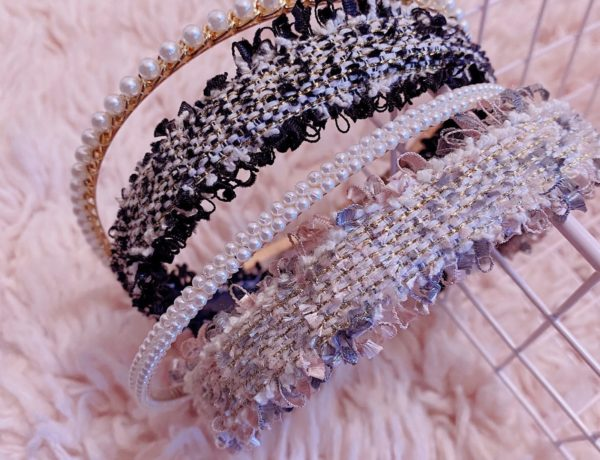 affordable hair accessories from amazon, tweed and pearl headbands