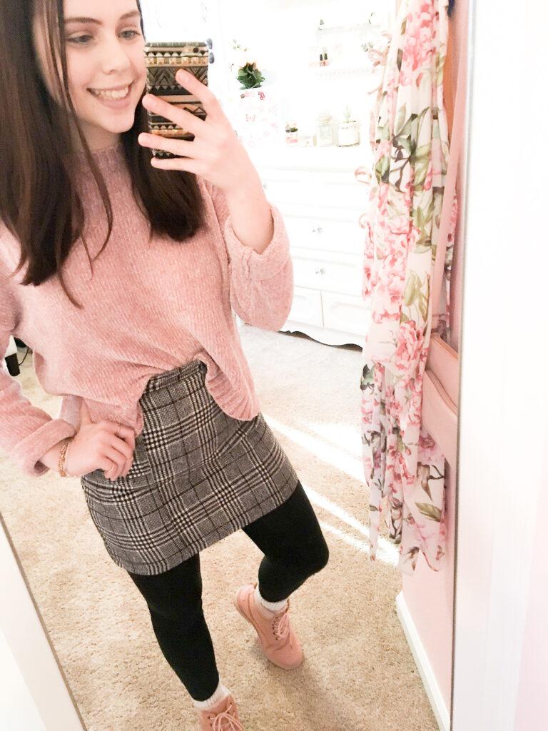 amazon fashion, amazon plaid skirt, amazon combat boots, amazon finds, winter amazon