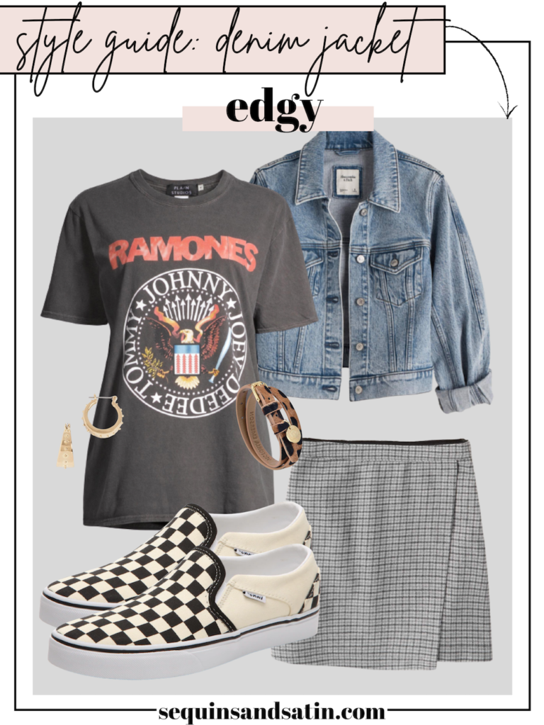 edgy denim jacket outfit for women