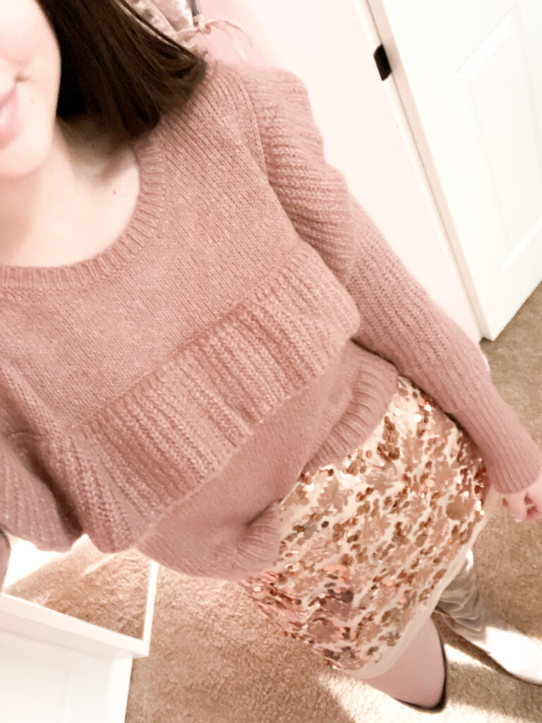 Ruffle sweater outfit, sweater outfit, how to style a sweater