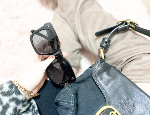 stylish outfit idea, over the knee boots outfit, black purse, oversized black sunglasses, gold bracelet set, leopard print shacket, leopard shacket outfit, black sweater dress