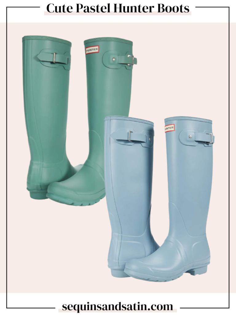 cute pastel hunter boots, pastel rain boots, tall rain boots