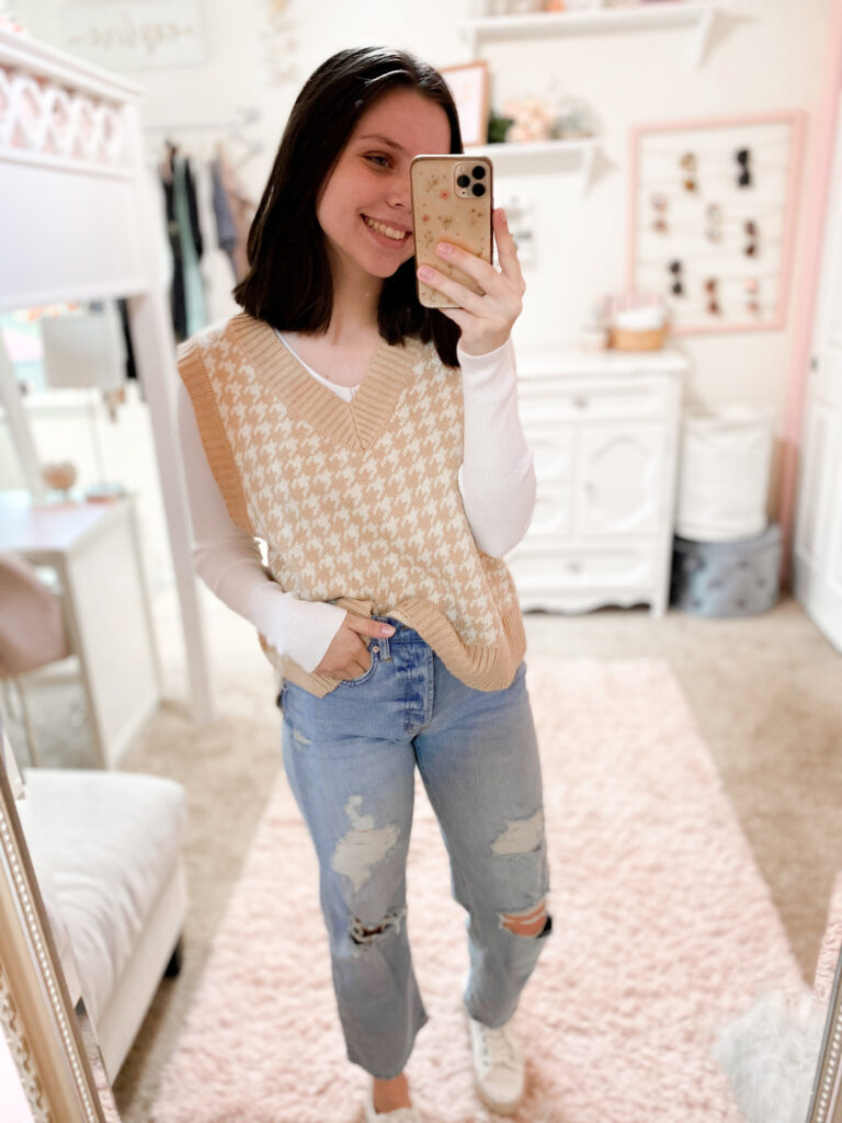 fall sweater vest outfit